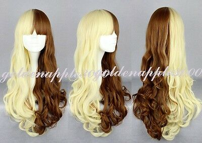 """26"""" 65cm Beautiful Lolita Long Curly Wavy Blonde  Mixed Brown Cosplay Wig"""
