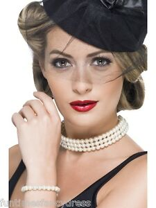 1920-039-s-Vintage-Faux-Charleston-Pearl-Set-Choker-amp-Bracelet-Flapper-Fancy-Dress