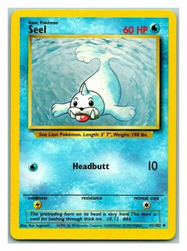 Seel 41//102 Base Set Pokemon Card P-HP Condition Rd Desc*