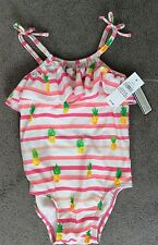GAP SWIMSUIT UPF 40+WITH PINK STRIPES AND PINEAPPLES & FRILL AT NECK 12-18m BNWT