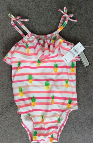 GAP SWIMSUIT UPF 40+WITH PINK STRIPES AND PINEAPPLES /& FRILL AT NECK 18-24m BNWT