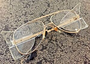 2a6f10e37bfb Image is loading Stylish-Retro-Aviator-Safety-Glasses-Gold-Frame-Clear-