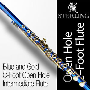 Blue-and-Gold-OHC-Flute-STERLING-Open-Hole-C-Flute-16-keys-Brand-New