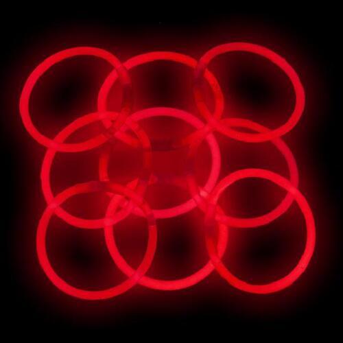 """1000 8/"""" GlowSticks Glow Light Stick Bracelets RED"""