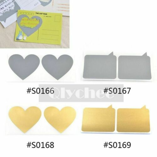 10 Pcs Heart Label Shape Scratch Off Stickers Funny Message Hide Protector Gift