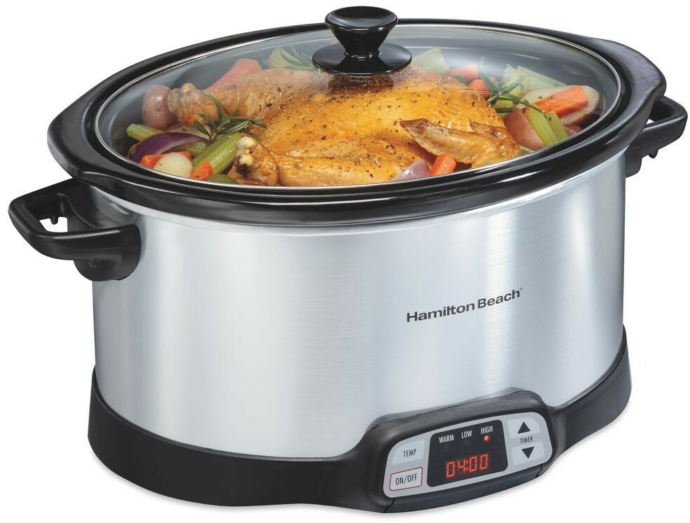 Hamilton Beach Slow Cooker Programmable 8 Quart Electric Cooking Kitchen Oval