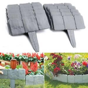 20X Stone Effect Cobbled Plastic Garden Fence Lawn Edging Plant Border DIY Home