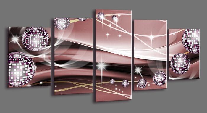 Tableau Déco Moderne Abstrait Contemporain 5 partie Image sur toile 200x100 cm