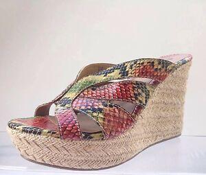 803177f4286 Womens MIA Stylish Orange Animal Print wedge  slides shoes. Size 8 1 ...
