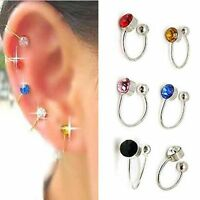 Ear Cuff Pair 2 Clip On U Shape Rhinestone Jewelry Nose Lip Ear Stainless Steel