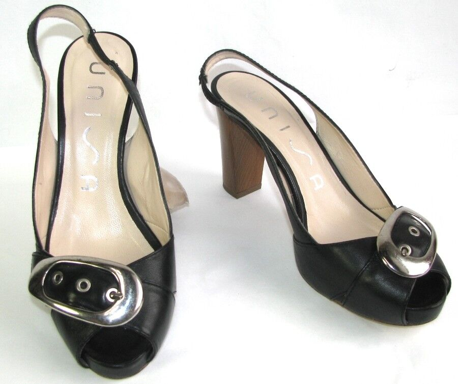 UNISA sandals heels & small plateau black leather 38 VERY GOOD CONDITION