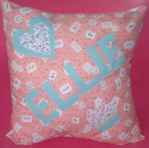 Girls Handmade Personalised Name Peach Cushion Present Birthday Gift