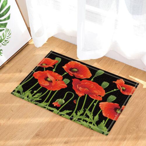 Red Poppy Flower on Black Bathroom Bedroom Floor Shower Mat Rug Non-slip Soft