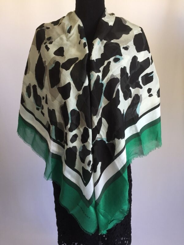Latest Collection Of Nwt Burberry Scarf Silk Animal Print Square Wrap Dark Green Aromatic Flavor