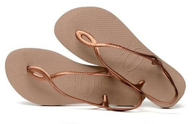 f669f05f811ab Havaianas Brazilian Women`s Flip Flops Sexy Luna Sandal Rose Gold Any Size  NWT