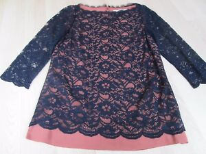 BODEN-PRETTY-CHIC-NAVY-LACE-LAYERED-TOP-SIZE-6