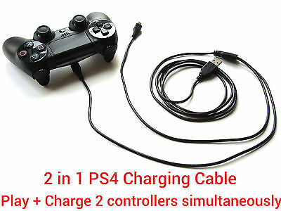 2 in1 1.8M long USB charging charger + play cable lead for Sony PS4 Controller
