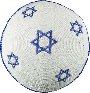 Yarmulke-Jewish-Kippah-White-Knitted-Blue-Stars-of-David-Judaica-Israel-Gift