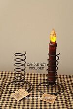TWO BLACK Wire Spiral Taper Candle Holders - Primitive Design - Reproduction