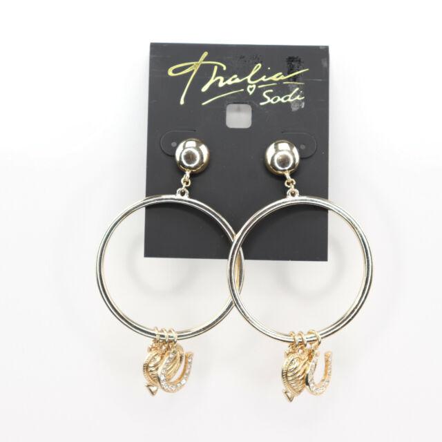 dea9b8703486f Thalia Sodi Gold-tone Pave Charm Drop Hoop Earrings Love #2320