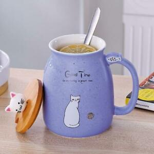 Creative-Cat-Ceramic-Cup-Water-Mug-Tea-Coffee-Milk-Cup-Gift-With-Cover-Spoon