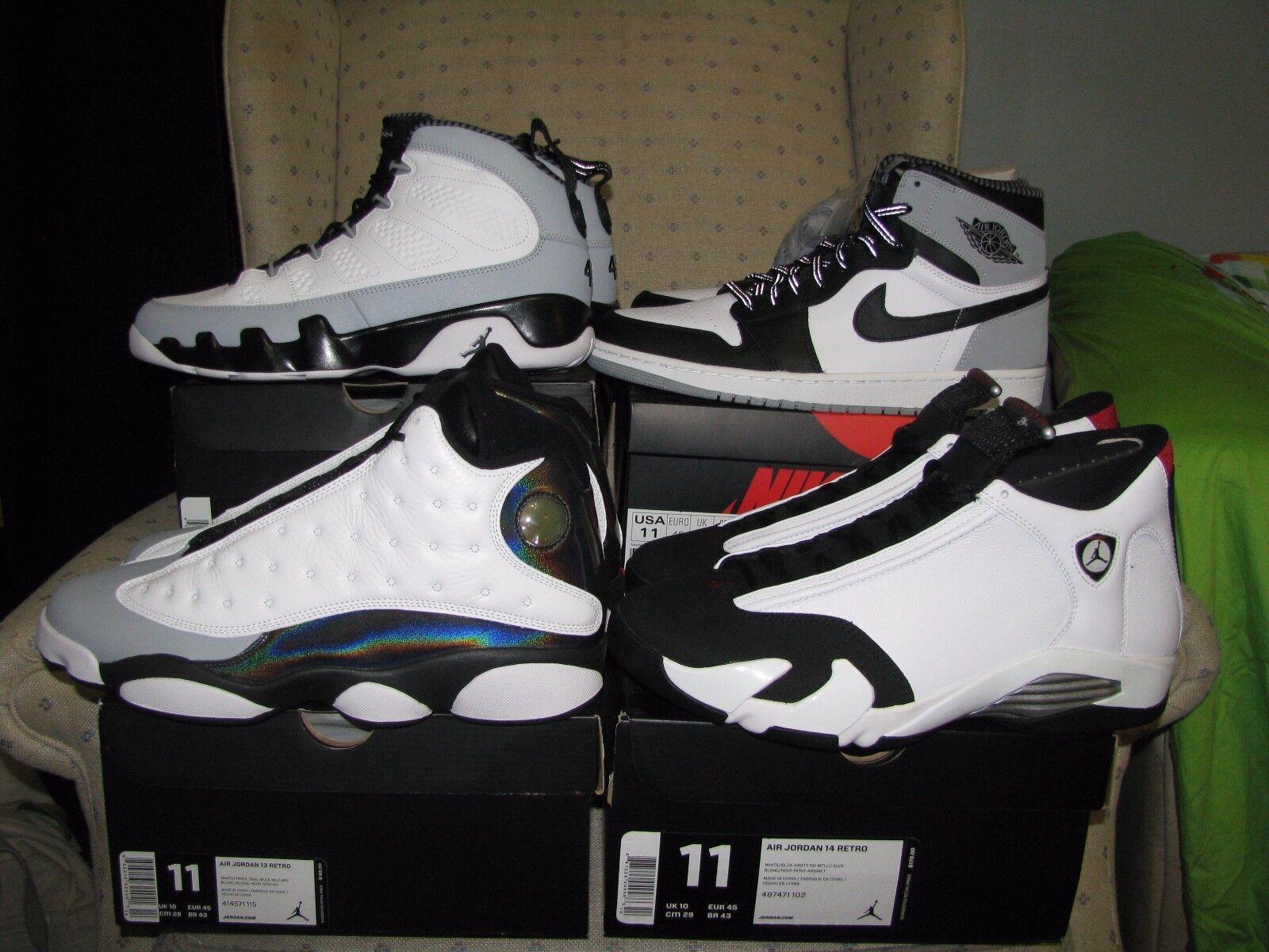 4 PAIRS NIKE AIR JORDAN RETRO 9 &  1 &  13 & 14 BARON Baseball White black Grey