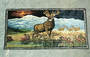 Tapestry Bull Elk Vintage Made in Italy Man Cave