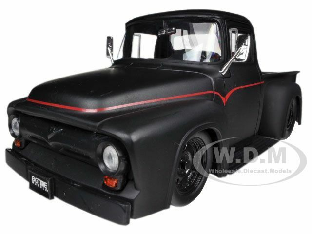 1956 FORD F-100 PICKUP TRUCK MATT BLACK 1/24 DIECAST CAR MODEL BY JADA 90485