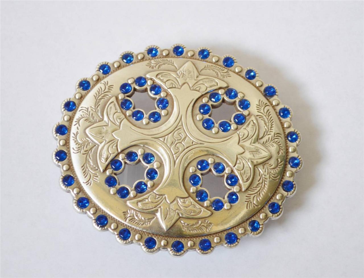 Enmon Engraved Blue Rhinestone Cross Western Belt Buckle Cowgirl Silver Round