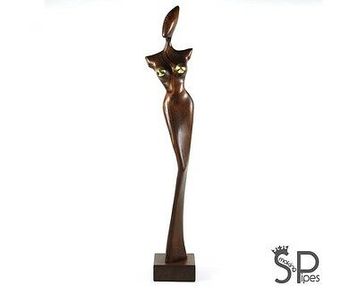 "EXCLUSIVE NUDE ABSTRACT WOODEN HAND CARVED SCULPTURE ""Aelita"" - 18.1"" /46cm"
