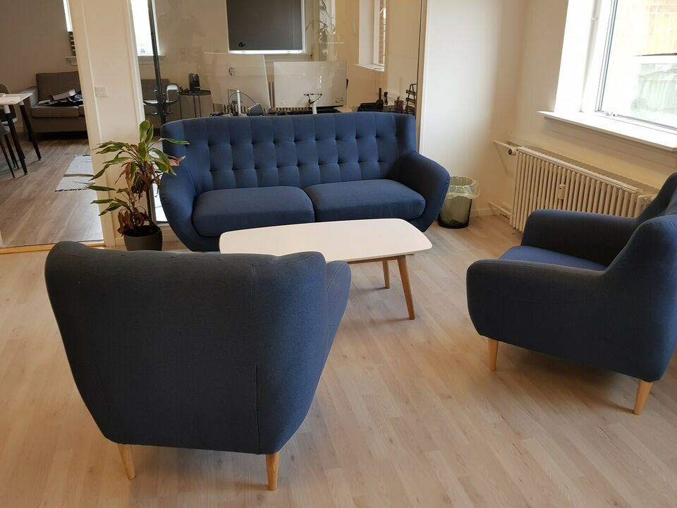 Blåt sofa sæt