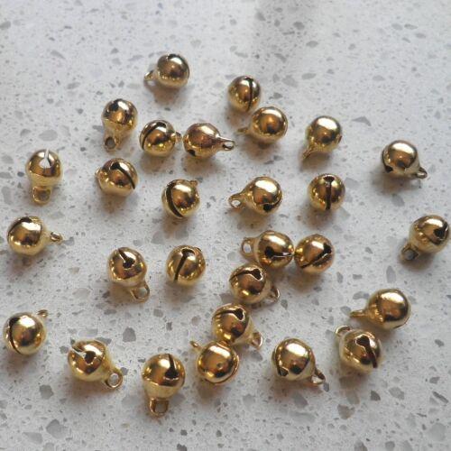 LOT de 40 CLOCHETTES GRELOTS BELLS 9x6mm DORE perles noël carnaval SANS NICKEL