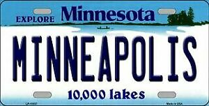 Minneapolis Minnesota State Background Novelty Motorcycle Plate