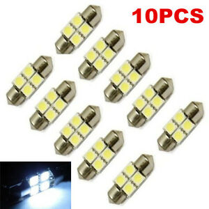 10PCS-White-31mm-5050-SMD-4-LED-Festoon-Dome-Car-Light-Interior-Lamp-Bulb-12V