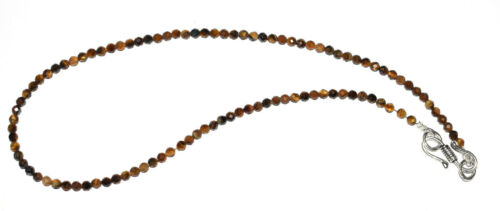 """925 Sterling Silver 12-30/"""" Necklaces Natural Tiger/'s Eye Gemstone 3 mm Beads AQ4"""