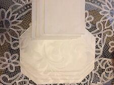 Beautiful Vintage Gobelin Style White Floral Place Mat & Napkin Set Of 4