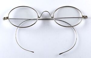 cd8840800bd Image is loading Vintage-Antique-Wire-Rimmed-Oval-Riding-Temple-Eyeglasses-