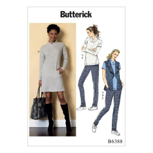 Butterick Sewing Pattern 6388 Misses/' Lapped Collar Top Dress /& Pleated Trousers