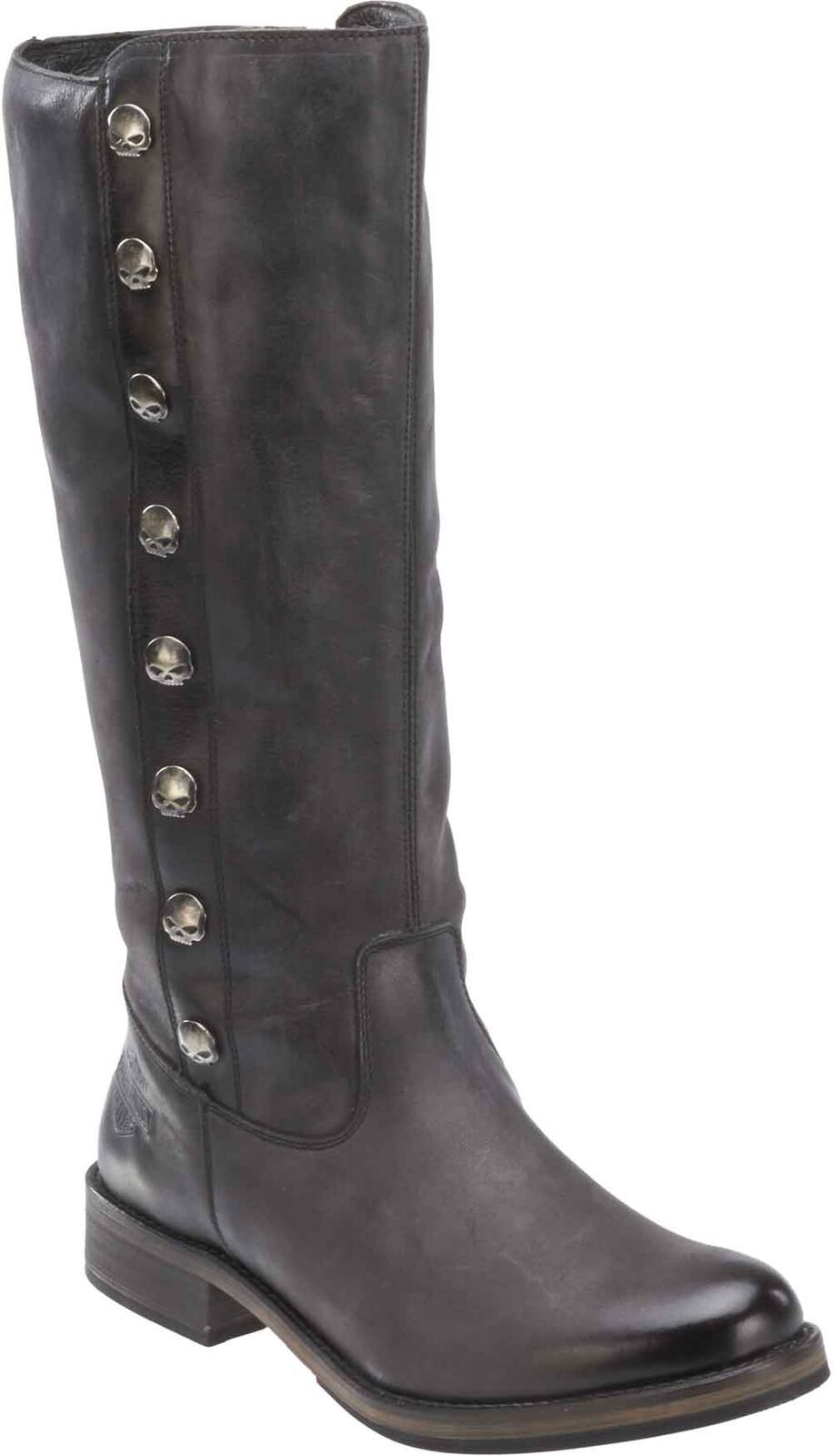 Harley-Davidson Women's Capstan Black Leather Motorcycle Boots. D83606