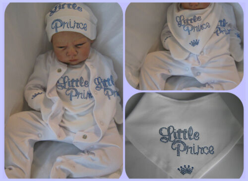 REBORN DOLL OR BABY BOYS LITTLE PRINCE HAT BIB VEST SLEEP SUIT GIFT SET NEWBORN