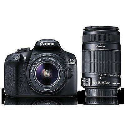 Canon EOS 1300D DSLR Camera with 18-55 and 55-250mm IS II Lens, 16GB Card