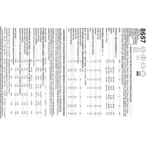Patrón 8657 Ropa deportiva-XXS-XS-S M-L-XL-XXL