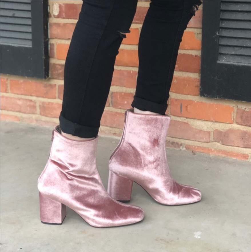 FREE PEOPLE pink pink pink VELVET BACK ZIP CECILE BLOCK HEEL ANKLE BOOT Sz US 9 EU 39 a169de