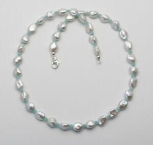 Keshi-Perlenkette-mit-kleinen-Amazonit-Rondellen-in-46-5-cm-Laenge