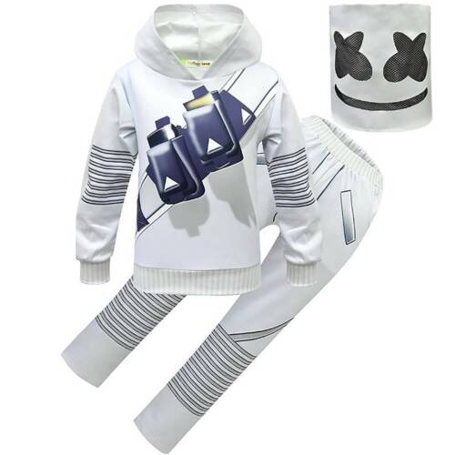 Kids Boys DJ Marshmallow Cosplay Costume Halloween Mask Jumpsuit Fancy Dress