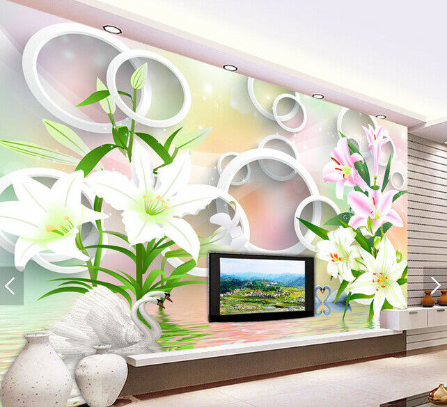 3D Lily Bloom 4079 WandPapier Murals Wand Drucken WandPapier Mural AJ Wand UK Carly