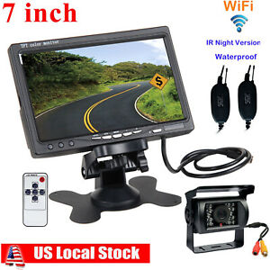 """Wireless IR Rear View Night Vision Backup Camera System For RV Truck 7/"""" Monitor"""