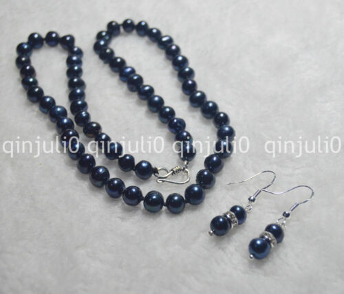 8-9mm//9-10mm Black Natural Pearl Necklaces Earring 17//20//24''Silver Clasp JN1408