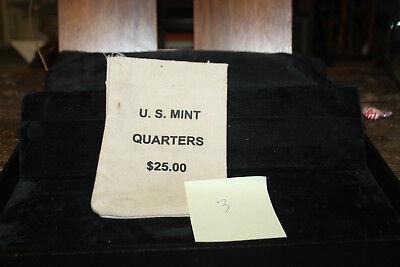 MINT $25 QUARTERS COTTON CANVAS HEAVY DUTY COIN BAG U.S EMPTY NO COINS