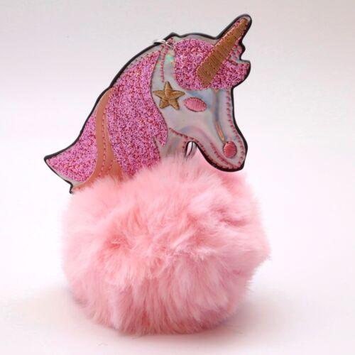 Unicorn Bunny Soft Faux Fluffy pom Charm Keychain Keyring Pendant UK SELLER OWL